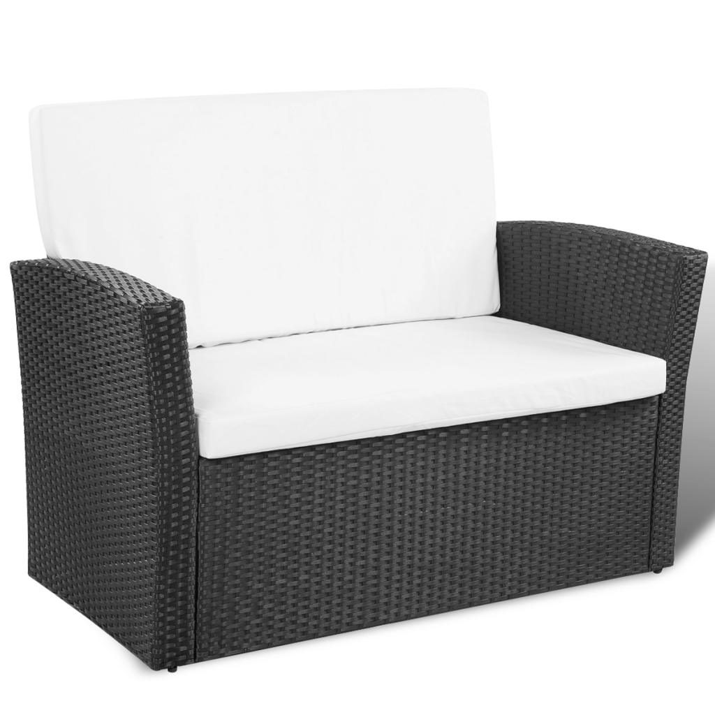 Black Black Outdoor Poly Rattan Lounge Set With Cushions