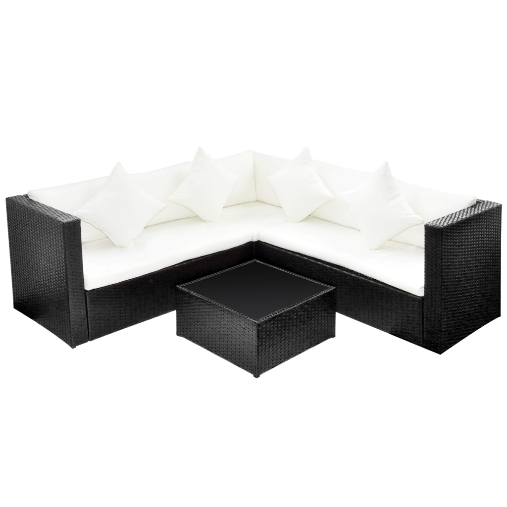 black black poly rattan lounge set with two seat sofa. Black Bedroom Furniture Sets. Home Design Ideas