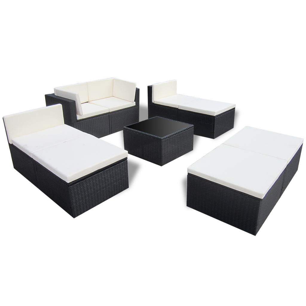 black black rattan outdoor patio poly rattan lounge sofa set. Black Bedroom Furniture Sets. Home Design Ideas
