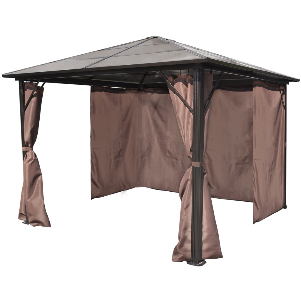 brown gazebo with brown curtain aluminum 10 39 x 10 39 weather resistant. Black Bedroom Furniture Sets. Home Design Ideas