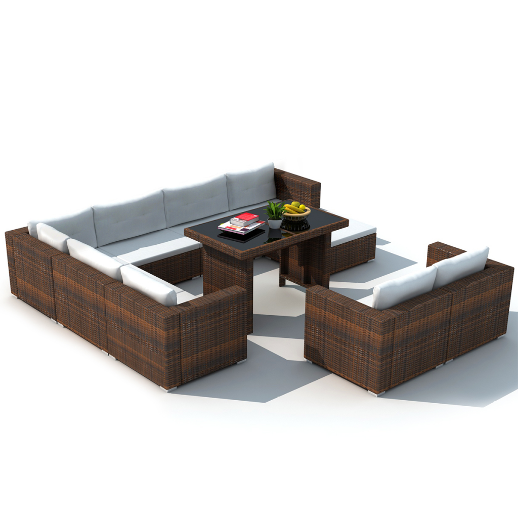 Komplett Neu brown 28 Piece Dining Lounge Set Brown Poly Rattan - LovDock.com NM21