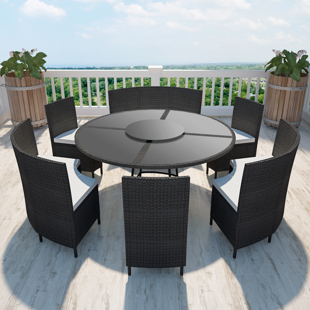 Garden Sets Round Table And Chairs In Black Polirattan 12 People