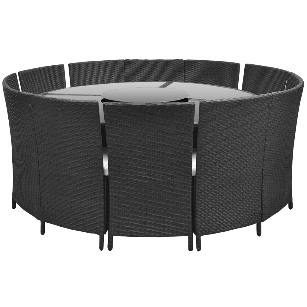 Delightful Garden Sets Round Table And Chairs In Black Polirattan 12 People