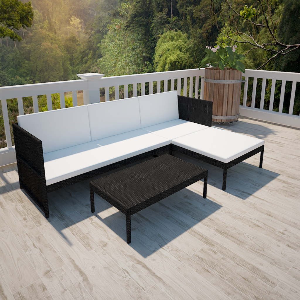 Black Outdoor Poly Rattan Lounge Set Three Seat Sofa