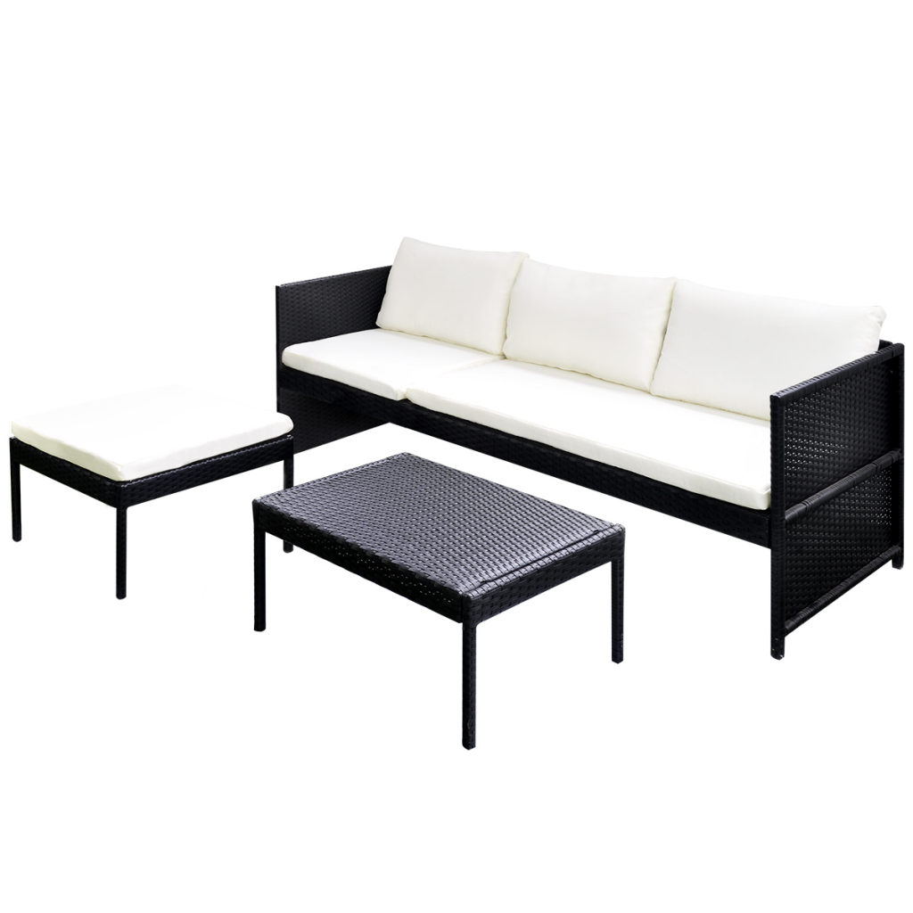 black black outdoor poly rattan lounge set three seat sofa. Black Bedroom Furniture Sets. Home Design Ideas