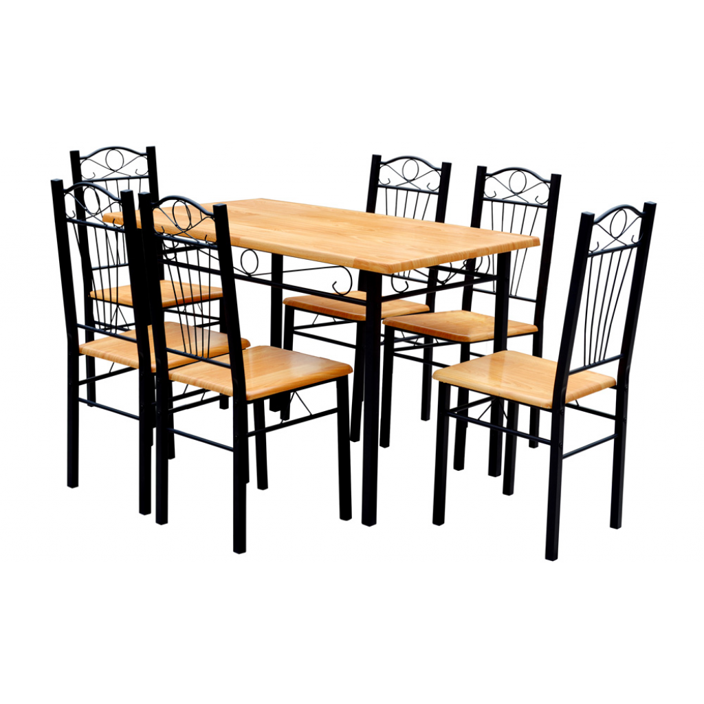 light brown dining table and 6 chairs light wood