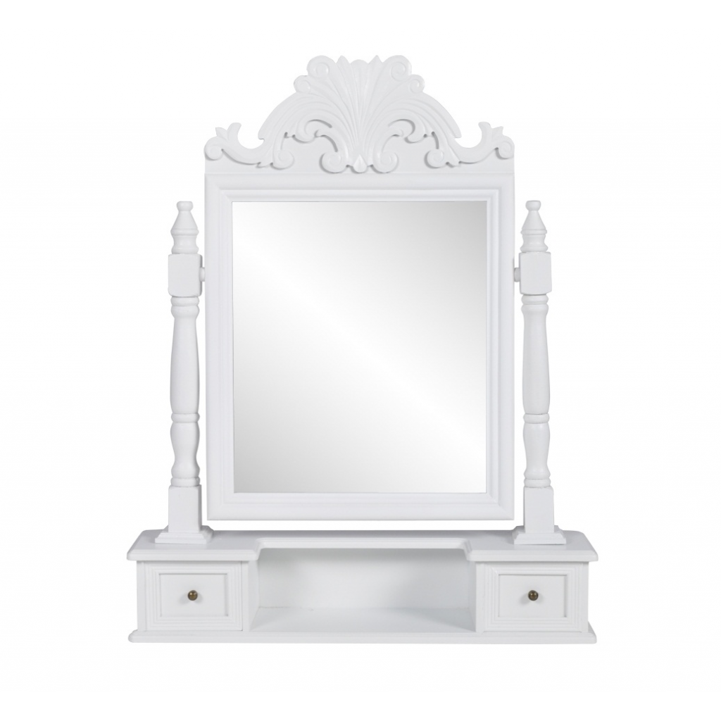 White vanity makeup table with swing mirror mdf for Miroir pour coiffeuse