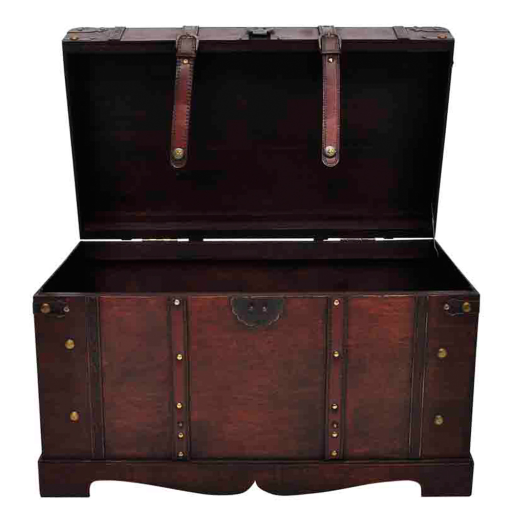 brown vintage large wooden treasure chest. Black Bedroom Furniture Sets. Home Design Ideas