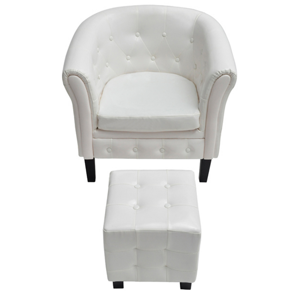 White chesterfield chair - Chesterfield Armchair With Stool White