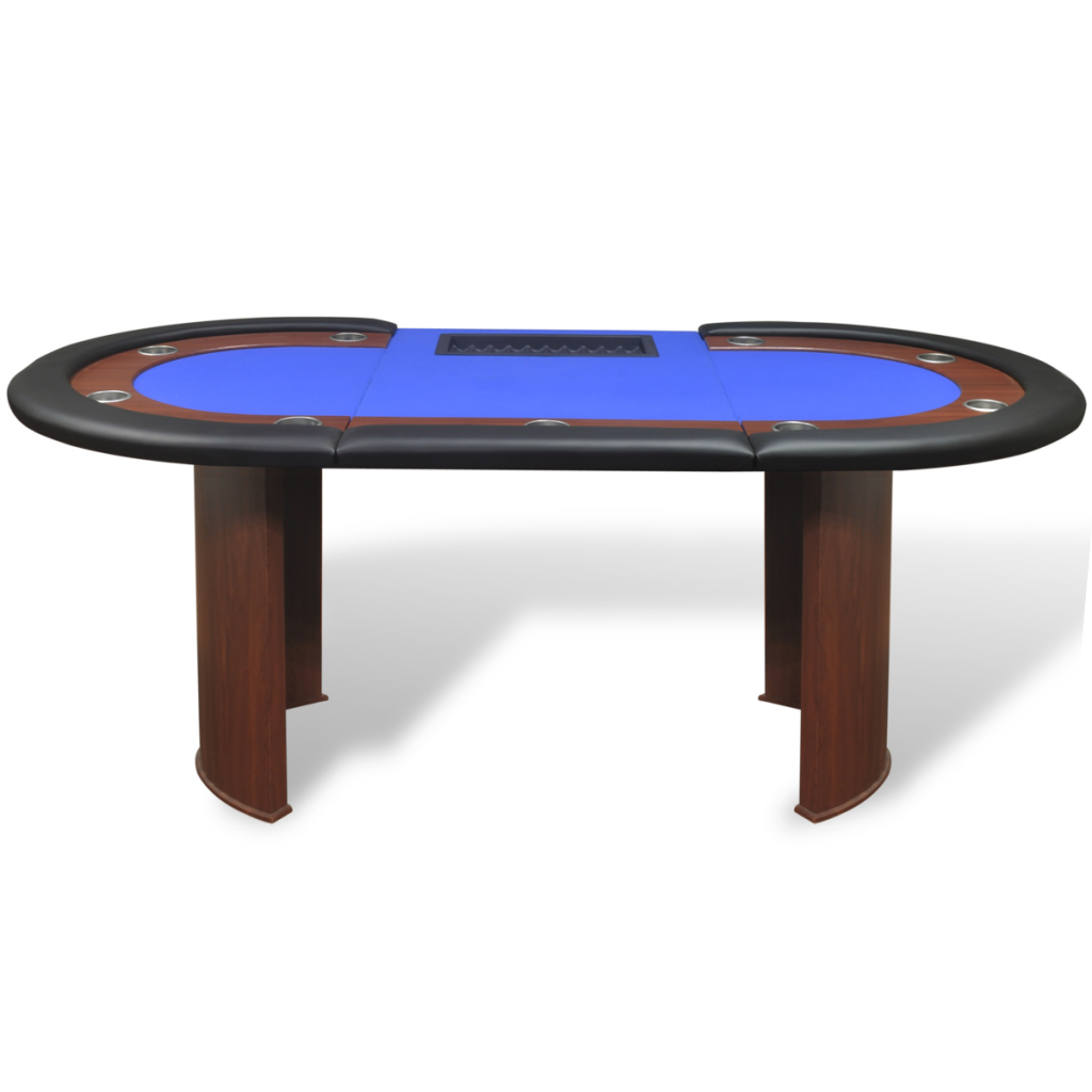 Blau 10 player poker table with dealer area and chip tray for 10 player poker table
