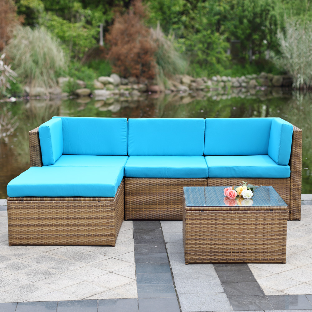 ikayaa 5pcs cushioned outdoor furniture sofa set