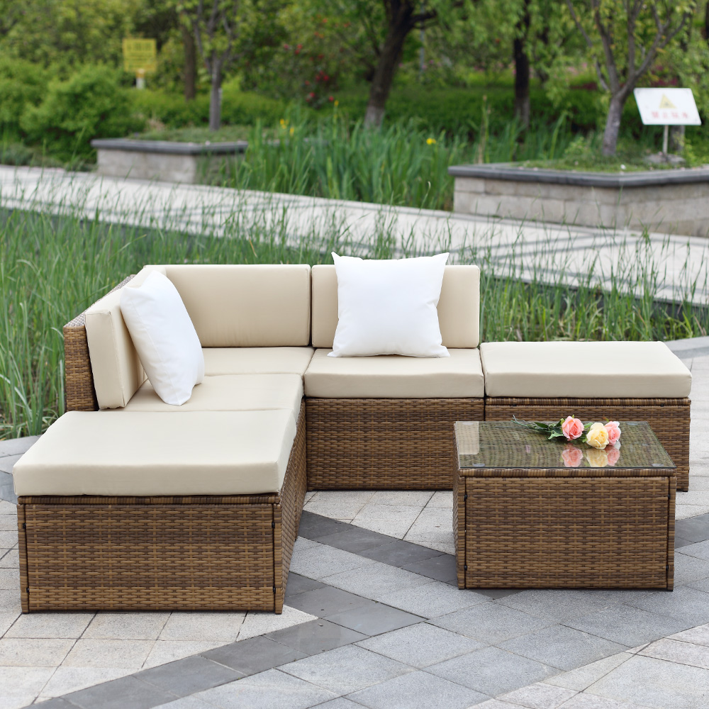 brown ikayaa 6pcs outdoor patio sectional rattan wicker sofa set light brown. Black Bedroom Furniture Sets. Home Design Ideas
