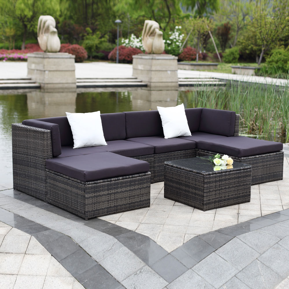 ikayaa 7pcs outdoor patio rattan wicker sectional sofa set gray - Garden Furniture Sofa Sets