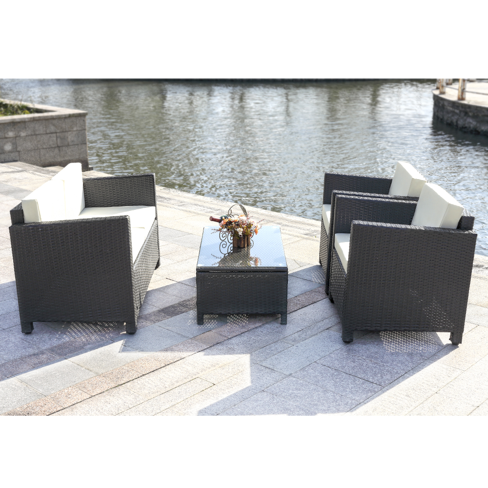 only ikayaa 4pcs ensemble de meubles de patio en rotin coussin noir. Black Bedroom Furniture Sets. Home Design Ideas