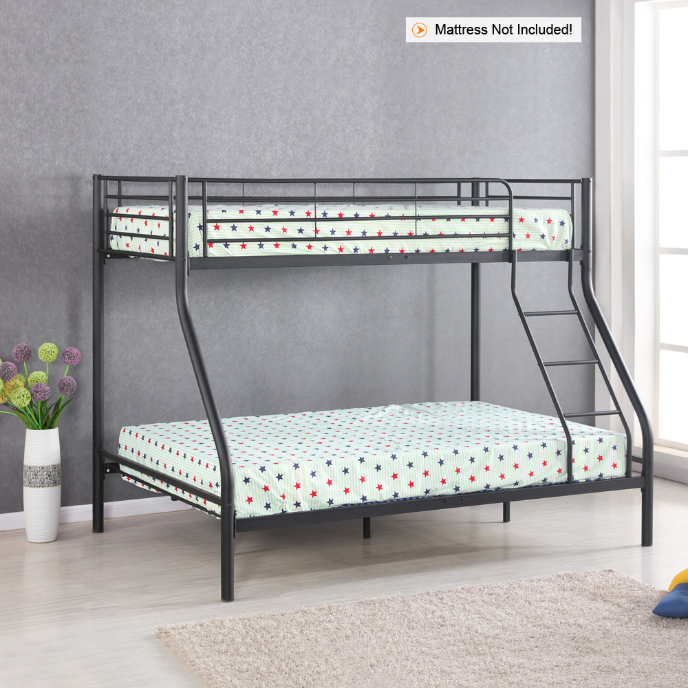 black ikayaa modern single over double metal bunk bed frame with ladder. Black Bedroom Furniture Sets. Home Design Ideas