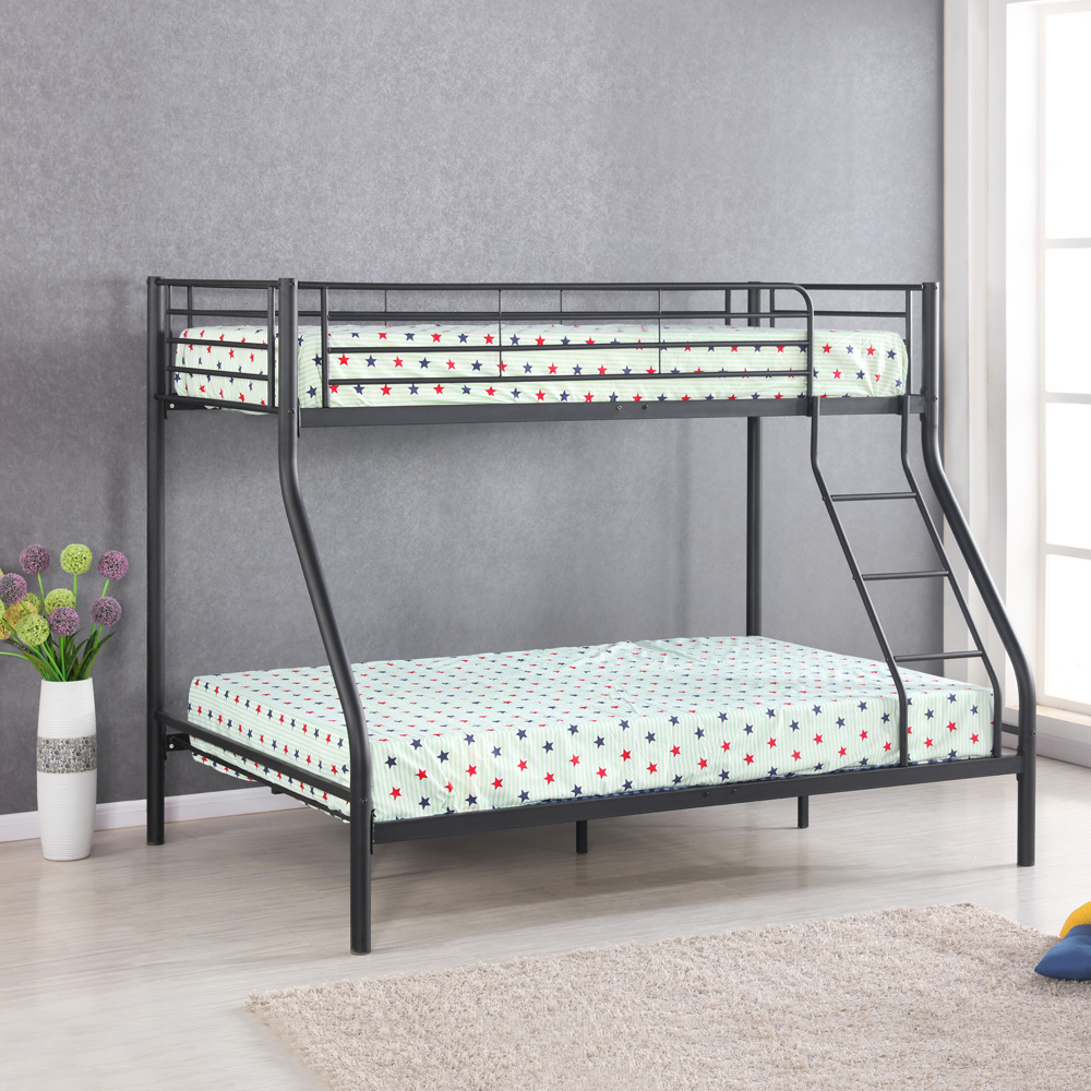 black iKayaa Modern SingleOverDouble Metal Bunk Bed Frame With