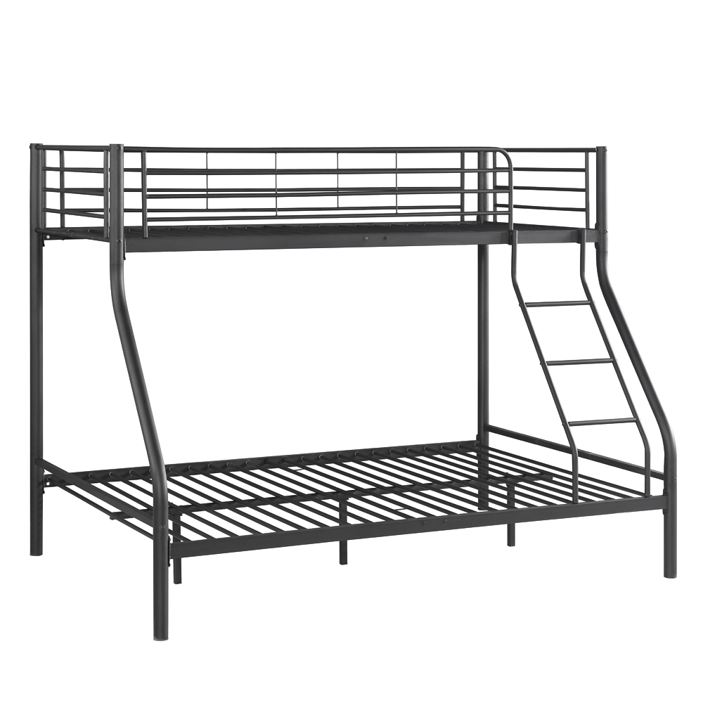 Black ikayaa modern single over double metal bunk bed for Single bunk bed frame