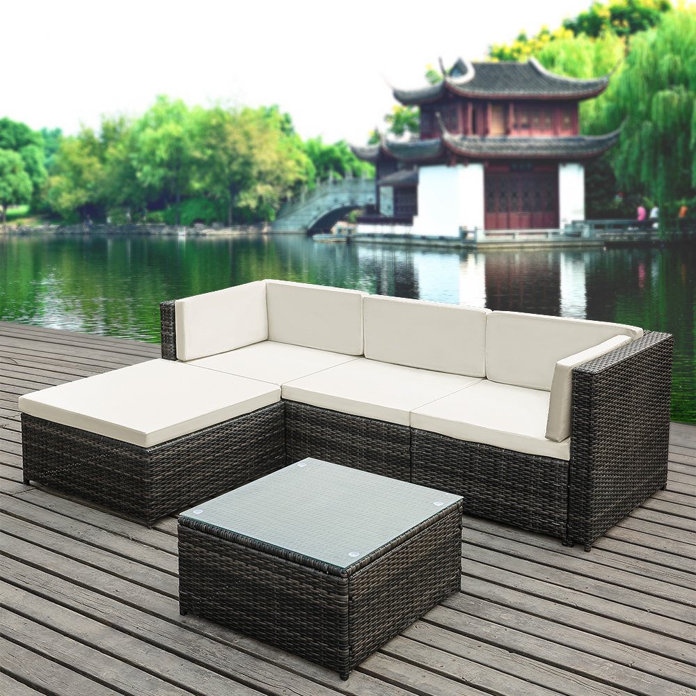 gray ikayaa 5pcs pe rattan wicker patio garden furniture. Black Bedroom Furniture Sets. Home Design Ideas