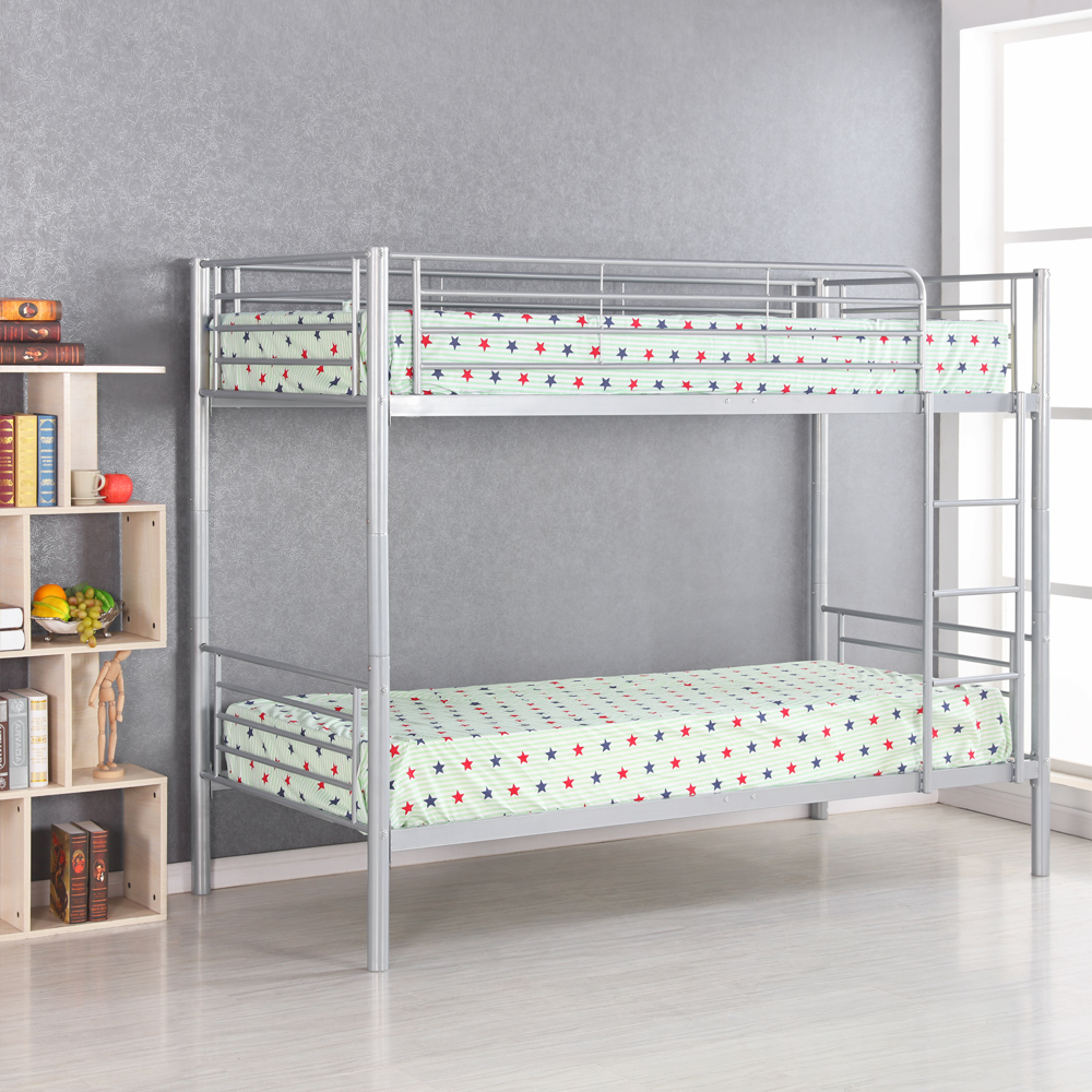 Silver ikayaa modern single over single metal bunk bed for Single loft bed frame