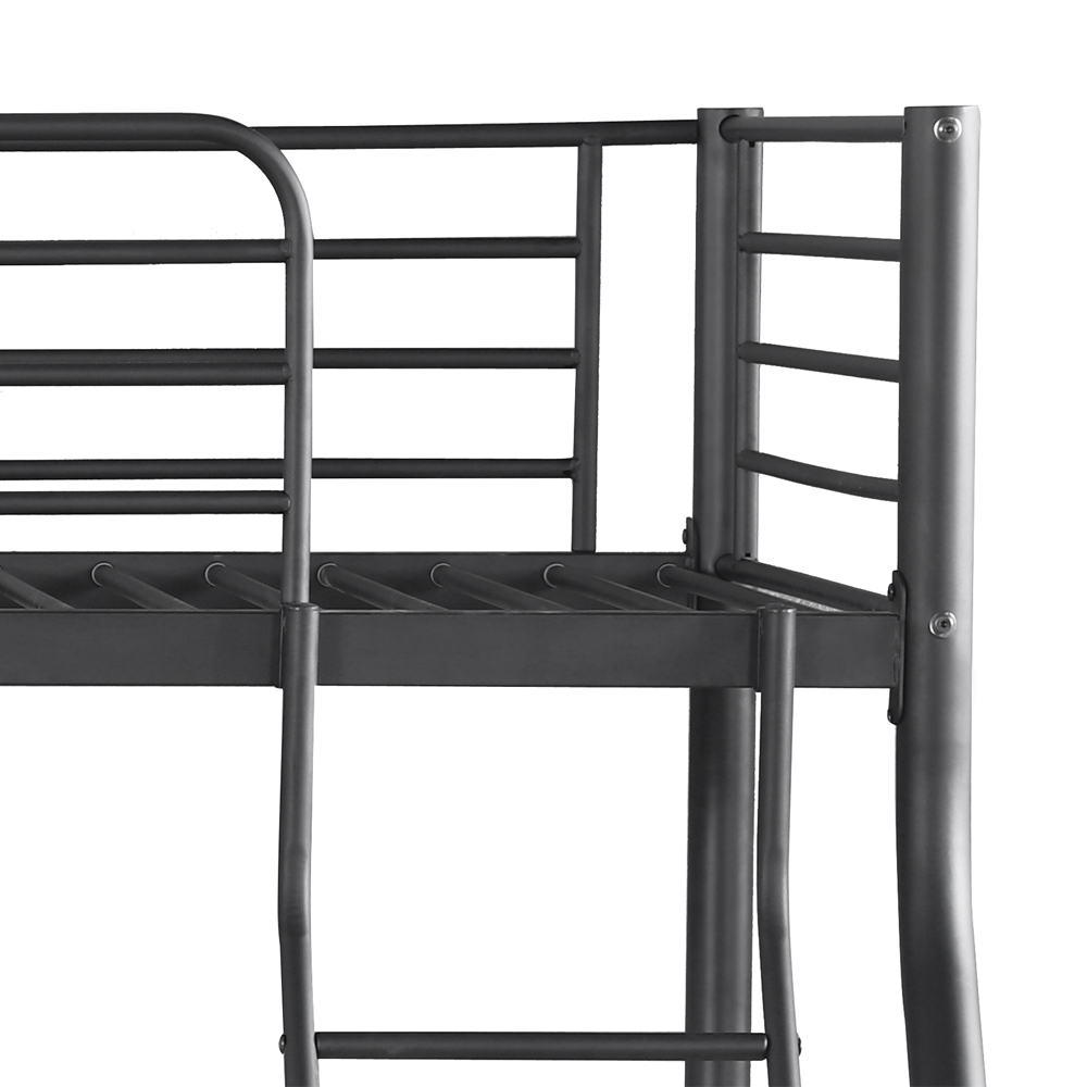 Black ikayaa single over double metal bunk bed frame with for Single loft bed frame