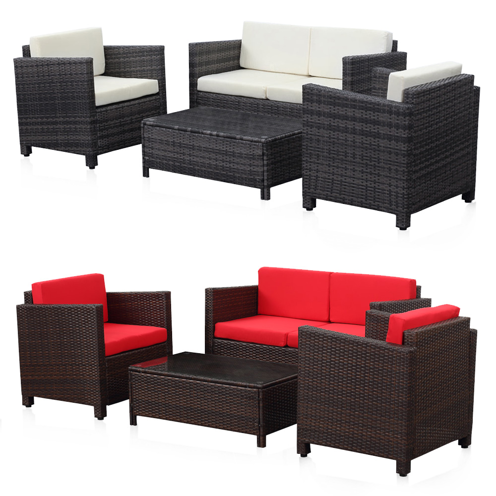 brown ikayaa 4pcs rattan wicker outdoor patio sofa set. Black Bedroom Furniture Sets. Home Design Ideas