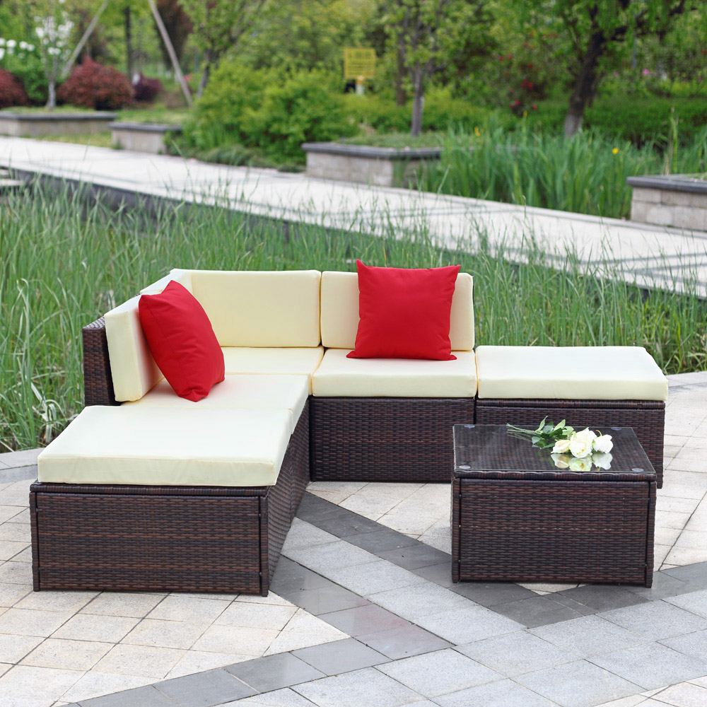 ikayaa 6pcs outdoor patio garden rattan wicker sectional sofa set brown - Garden Furniture Sofa Sets