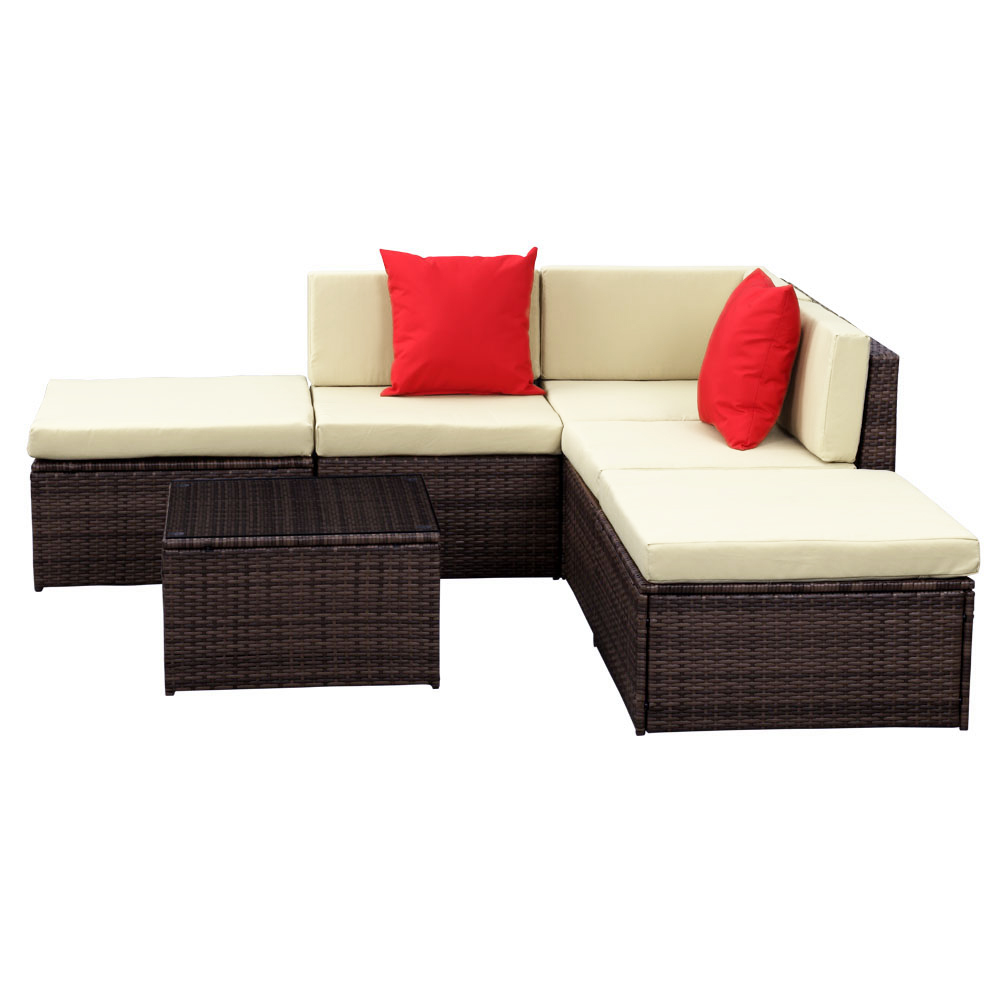 iKayaa 6PCS Outdoor Patio Garden Rattan Wicker Sectional Sofa Set Brown  sc 1 st  LovDock : rattan sectional sofa - Sectionals, Sofas & Couches