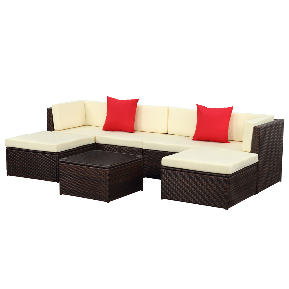 brown ikayaa 7pcs outdoor patio garden rattan wicker sectional sofa set brown. Black Bedroom Furniture Sets. Home Design Ideas