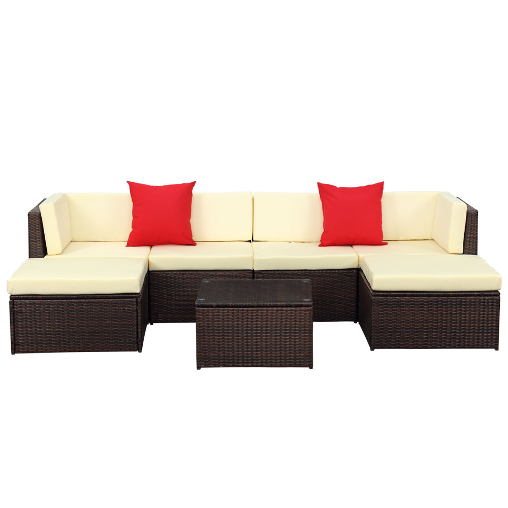 iKayaa 7PCS Outdoor Patio Garden Rattan Wicker Sectional Sofa Set Brown  sc 1 st  LovDock : rattan sectional sofa - Sectionals, Sofas & Couches