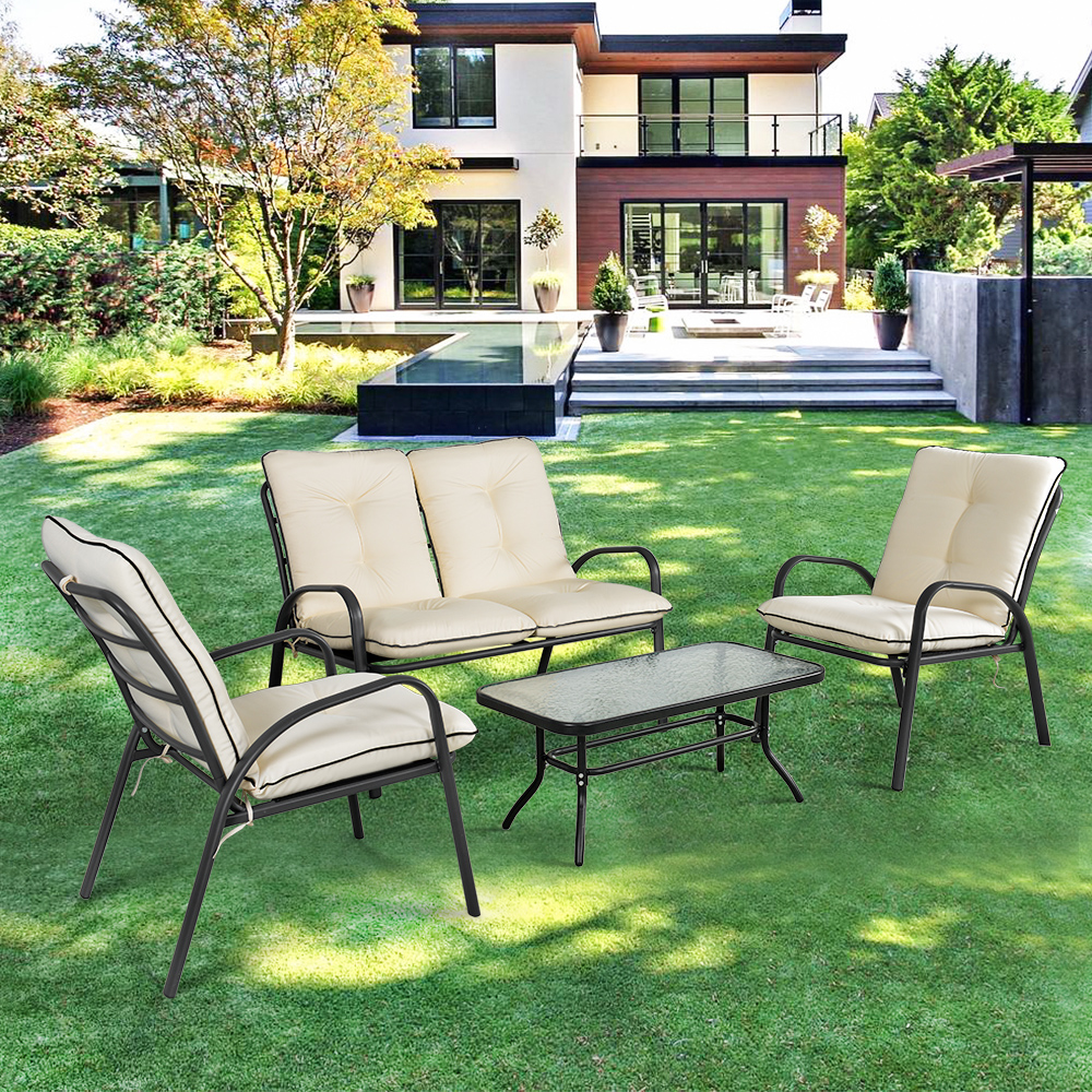ikayaa fashion 4 pieces cushioned patio garden furniture sofa set - Garden Furniture Sofa Sets