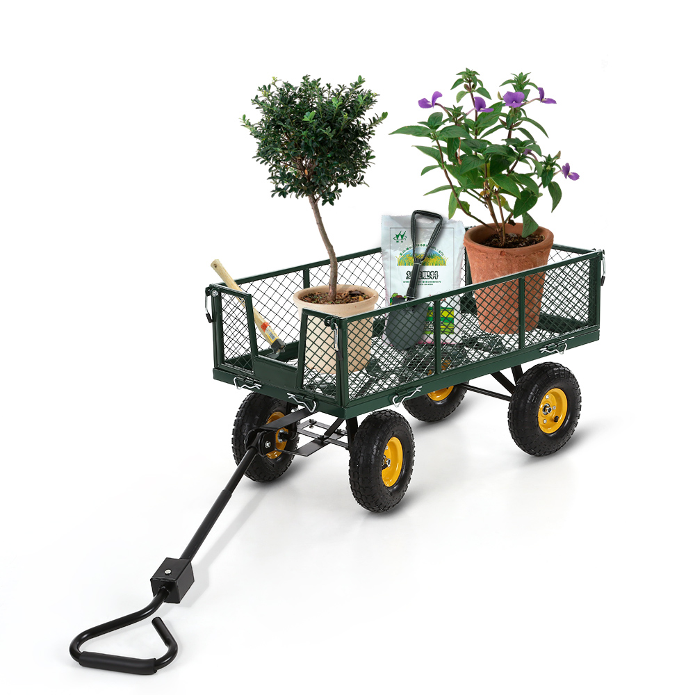 Image result for iKayaa Heavy-duty Steel Garden Wagon Trolley Cart