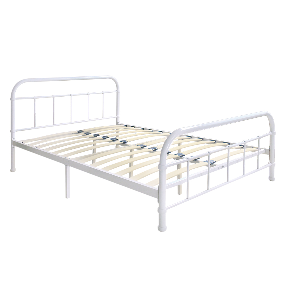 White 4 IKayaa Metal Platform Bed Frame With Wood Slats