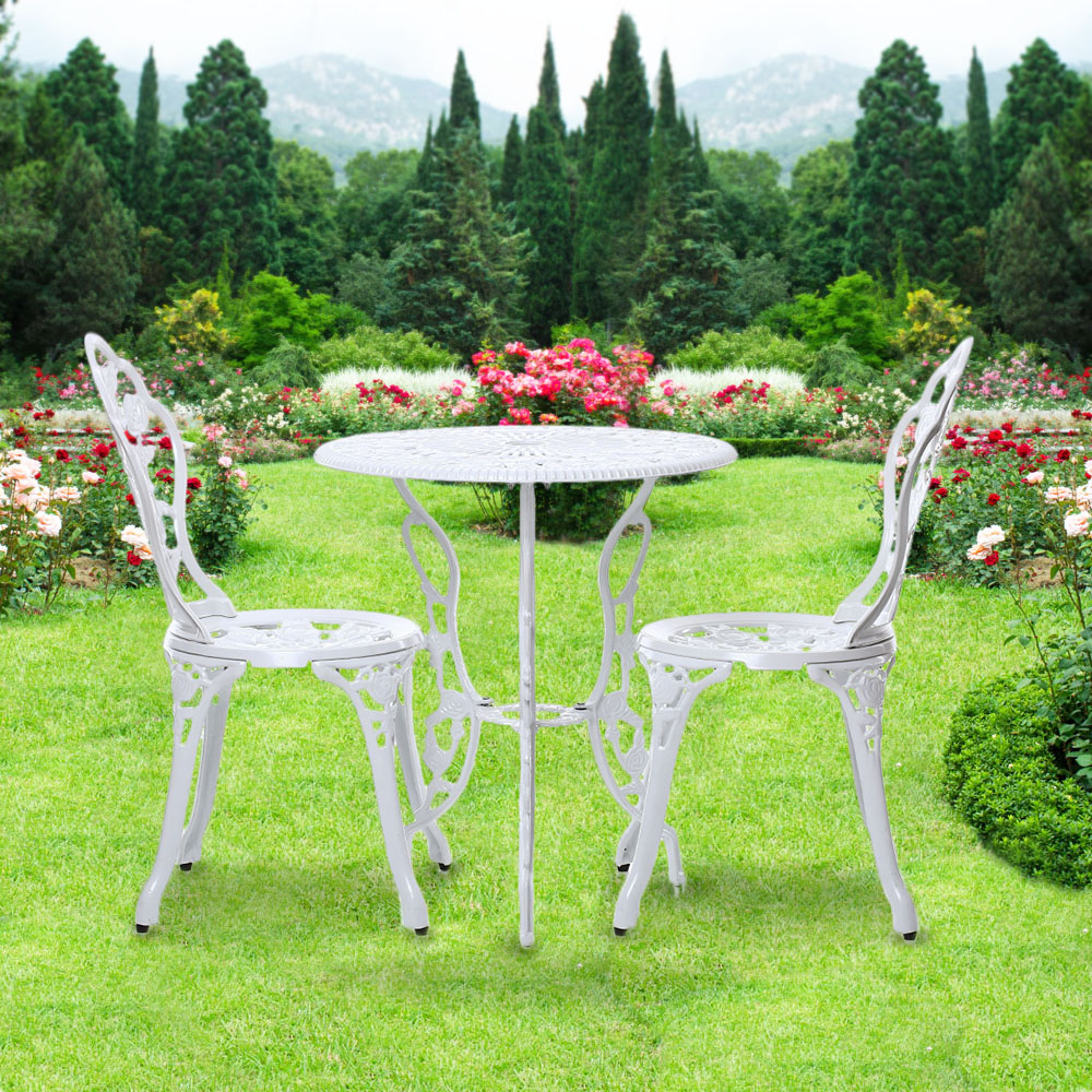 IKayaa Patio Outdoor Bistro 3PCS Iron Aluminum Cafe Table U0026 Chairs Set