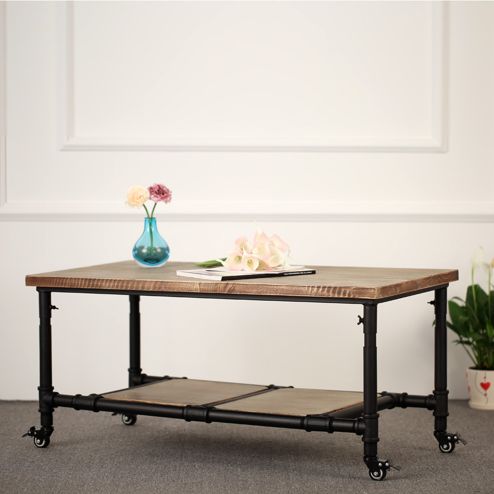 Only ikayaa table basse double plateau bois de for Table de student 99