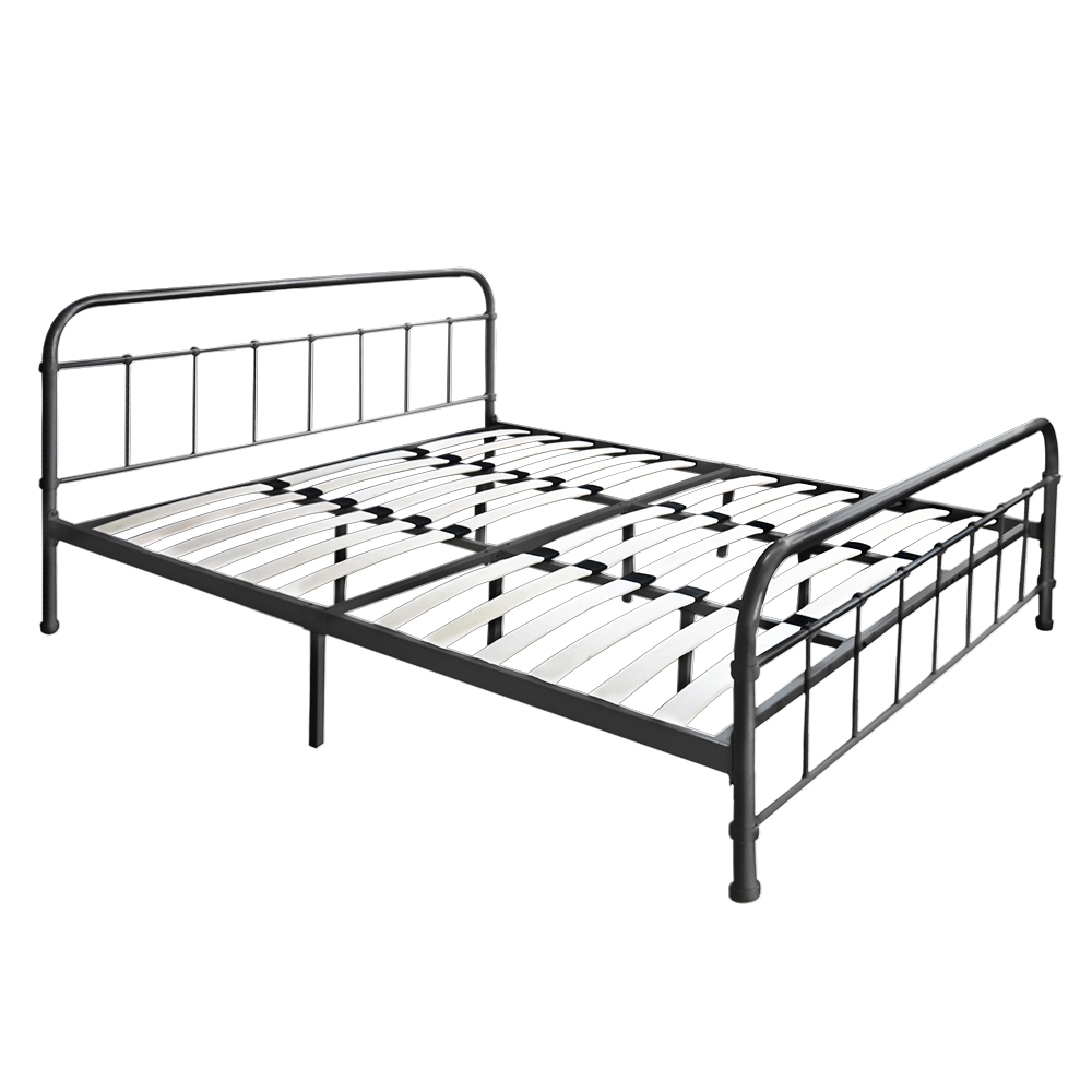 Black 1 ikayaa metal platform bed frame with wood slats for Double twin bed frame