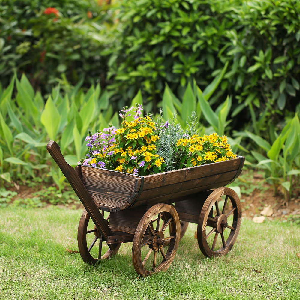 IKayaa Garden Wood Wagon Planter Pot