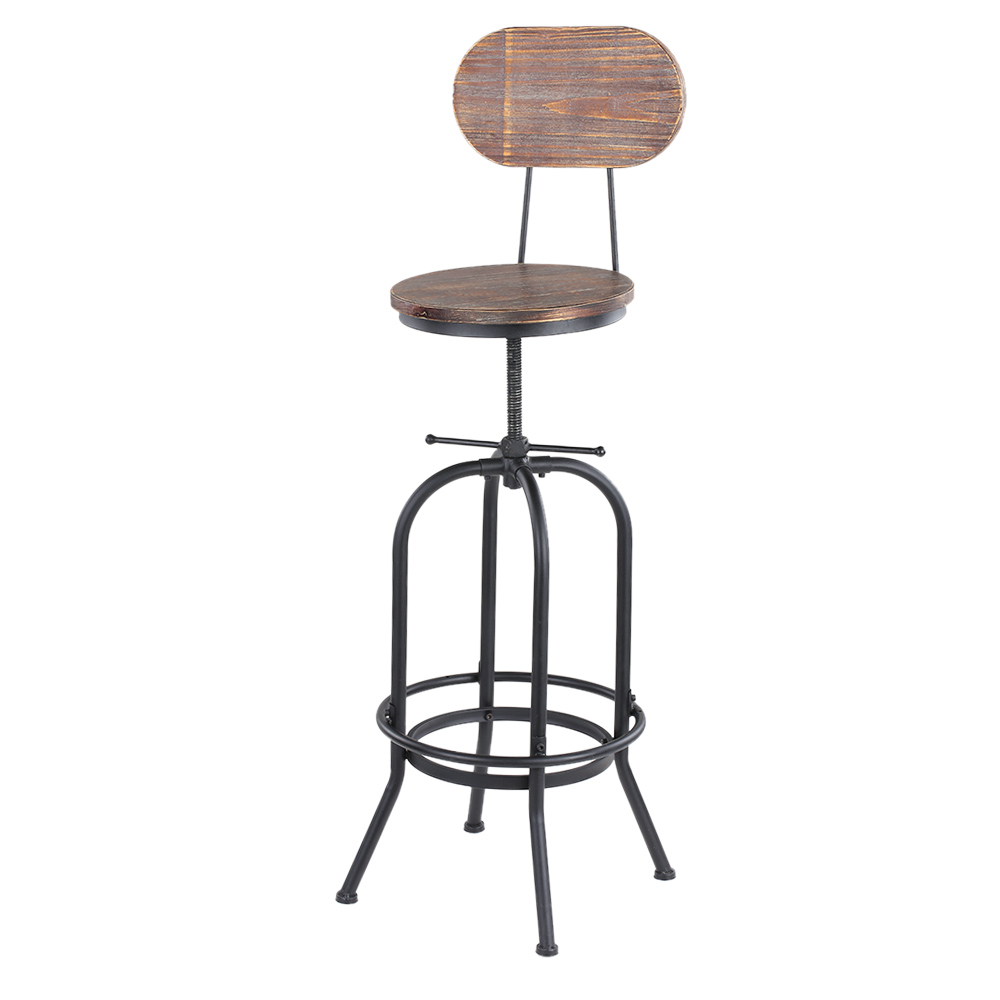 Wood ikayaa bar stool height adjustable swivel kitchen for Chaise haute style eames