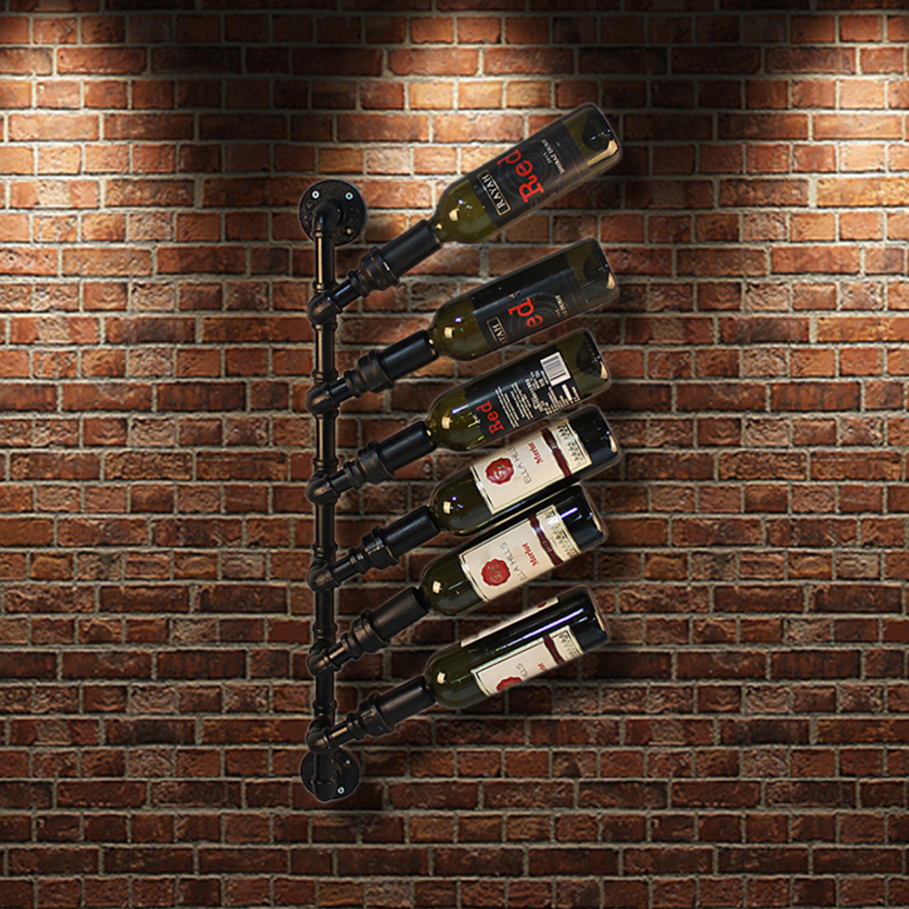 ikayaa industrial 6 bottle wall mount wine rack