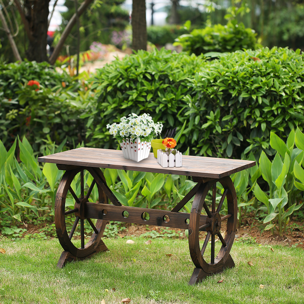 Wood Ikayaa Wagon Wheel Wood Outdoor Potting Bench