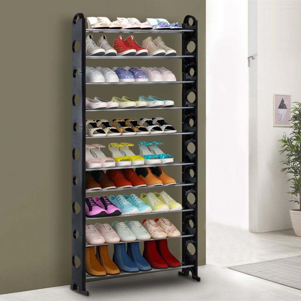 Black IKayaa Portable 10 Tier Standing Shoe Rack Organizer