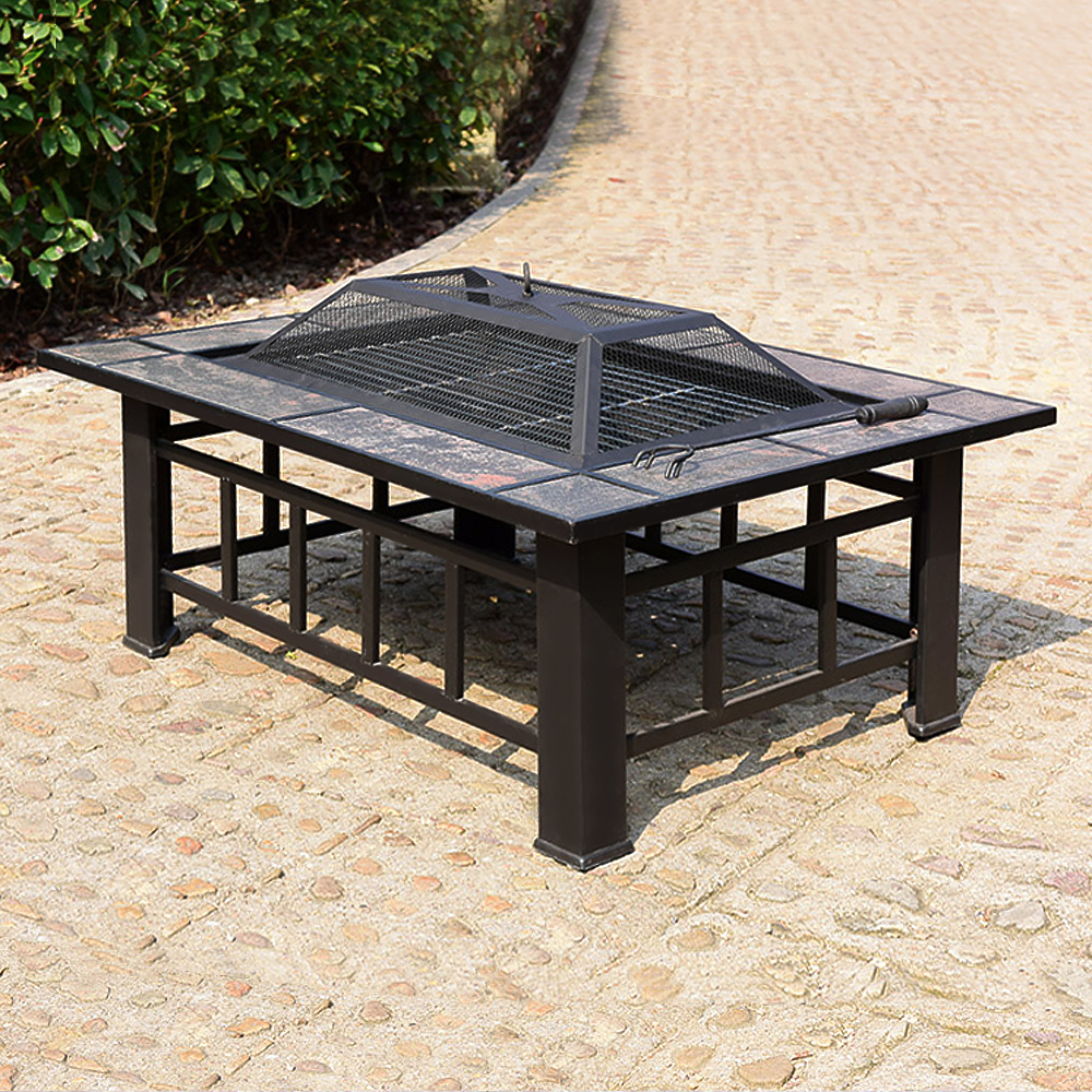 ikayaa rectangular 37 28 inch metal garden patio backyard fire pit