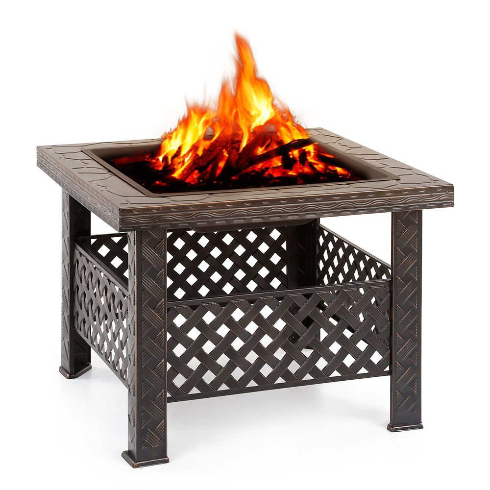 ikayaa square metal garden backyard brazier fire pit patio stove