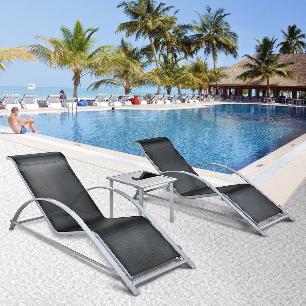 iKayaa Fashion 3PCS Patio Chaise Lounge Chair Set : pool chaise lounges - Sectionals, Sofas & Couches