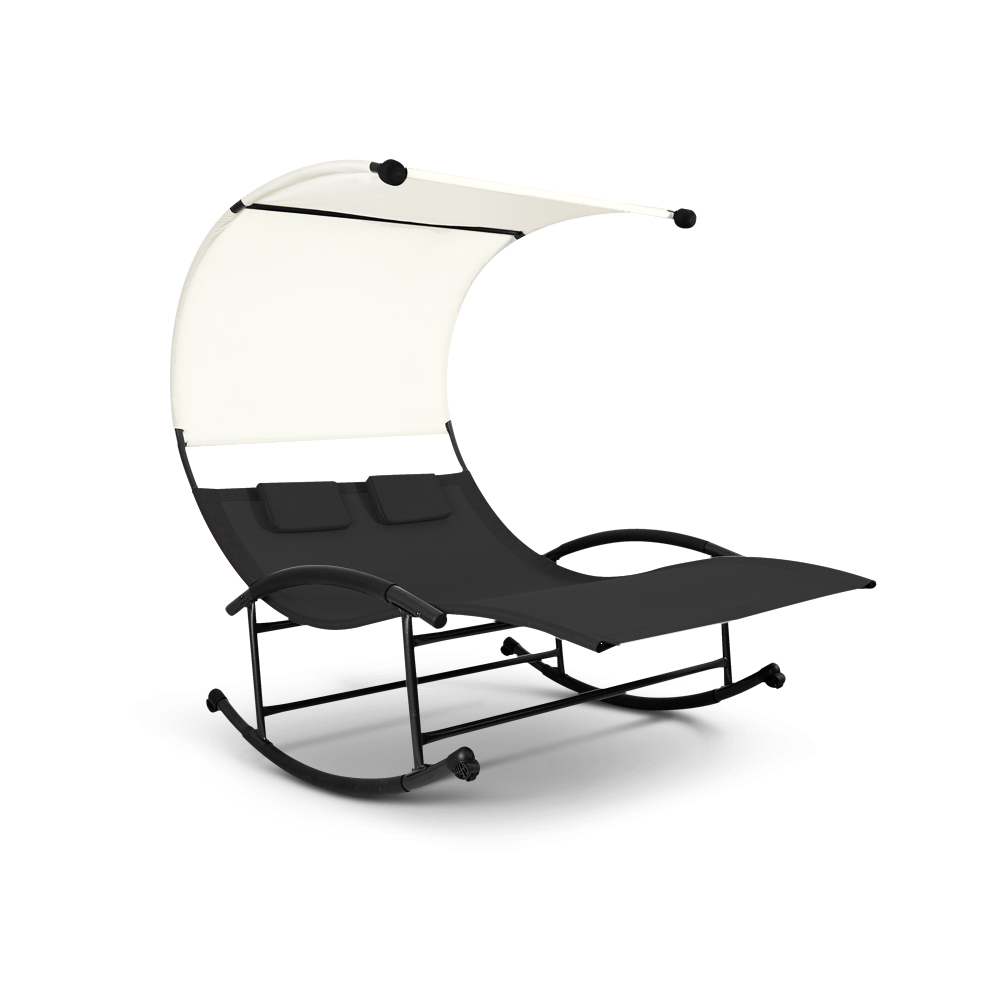 Black ikayaa patio garden outdoor double chaise rocker for Chaise x rocker