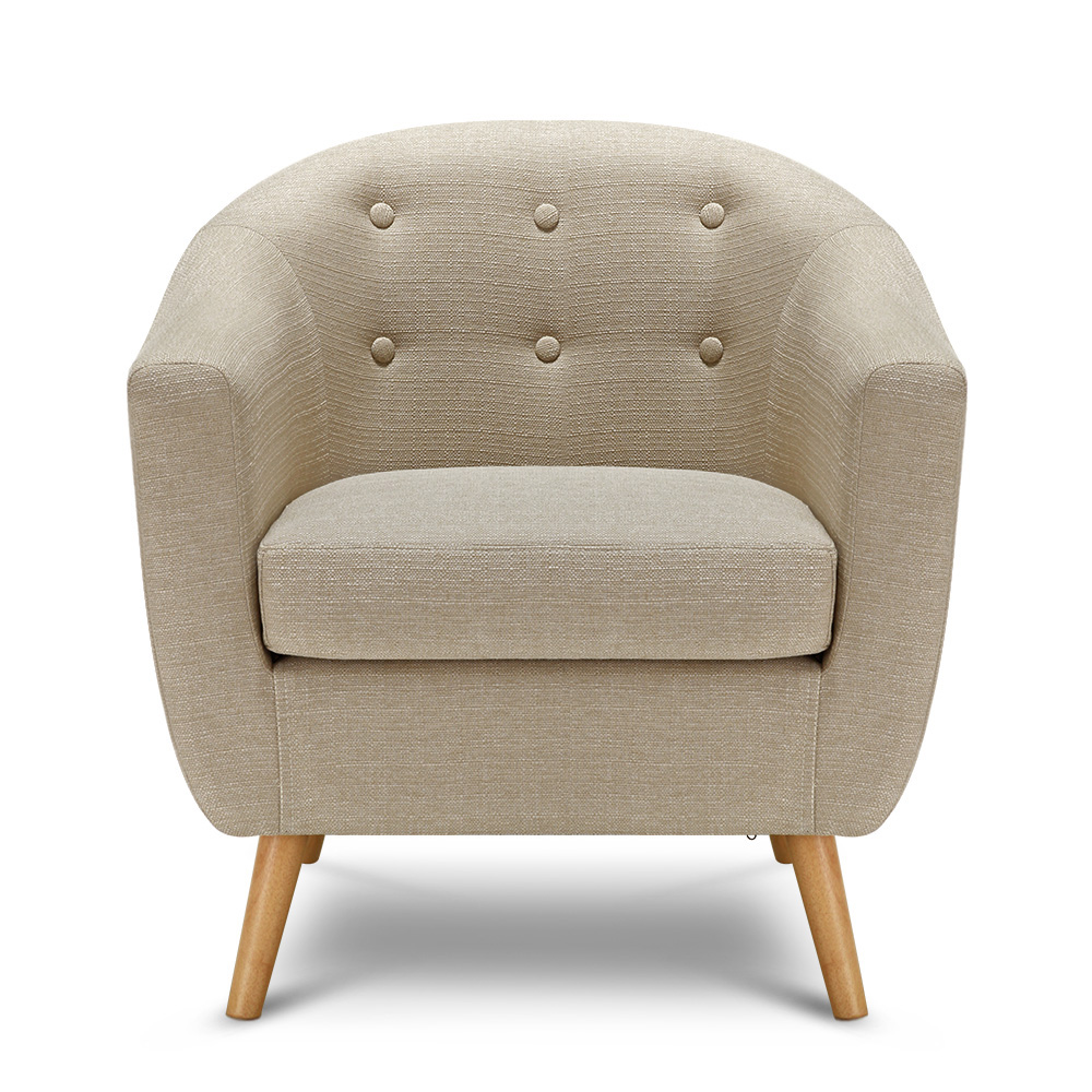 IKayaa Living Room Teal/Beige Fabric Accent Chair Armchair Part 91
