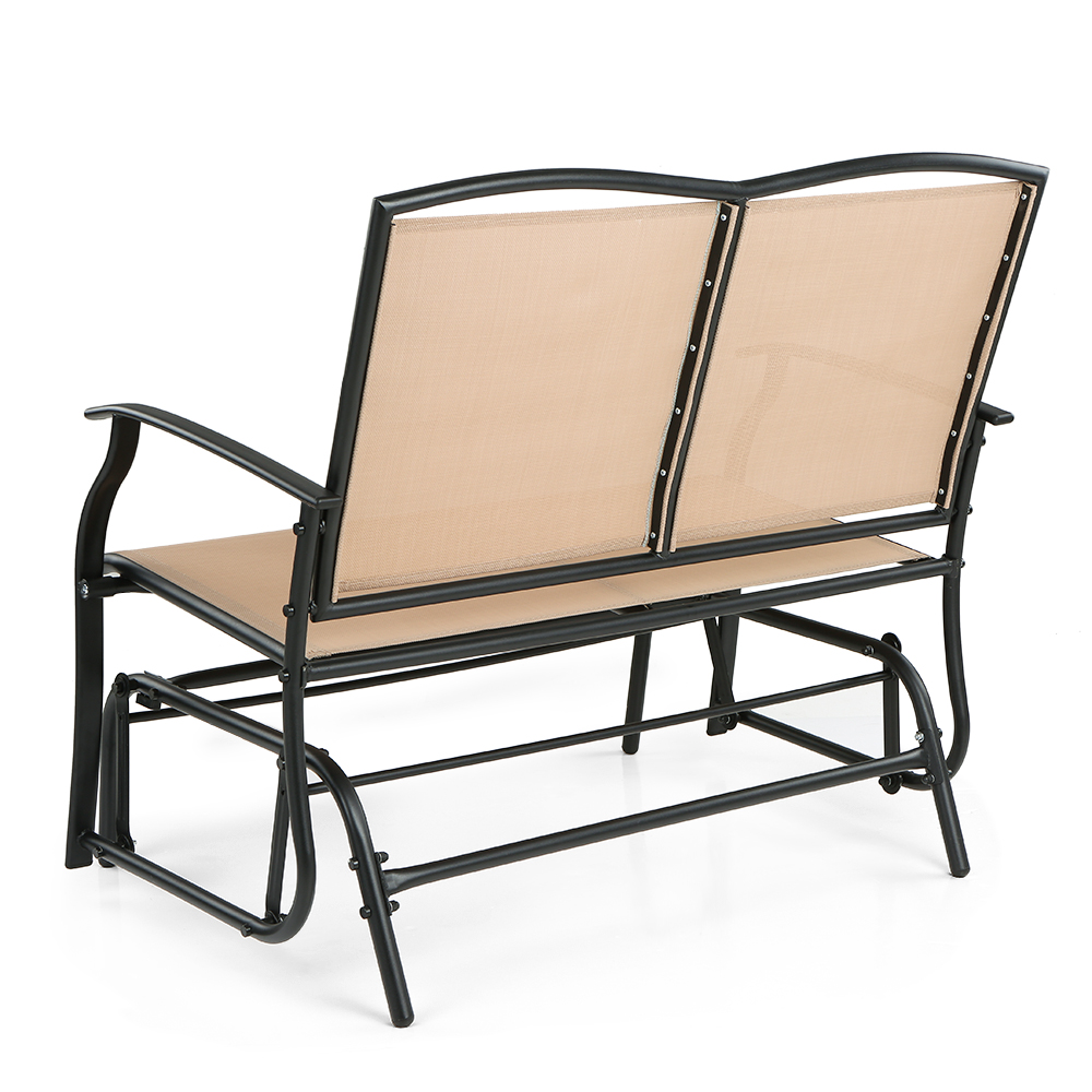 beige iKayaa 2 Person Patio Swing Glider Bench Chair ...