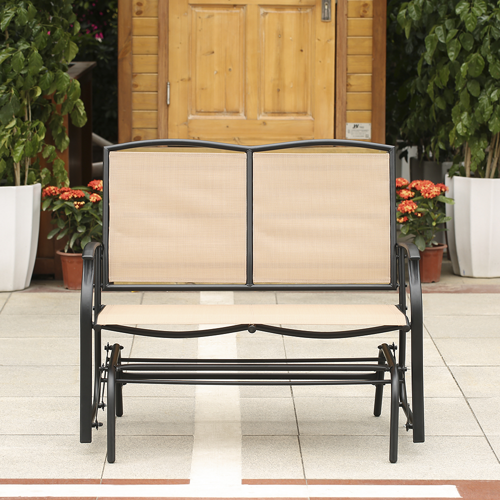 ikayaa 2 person patio swing glider bench chair