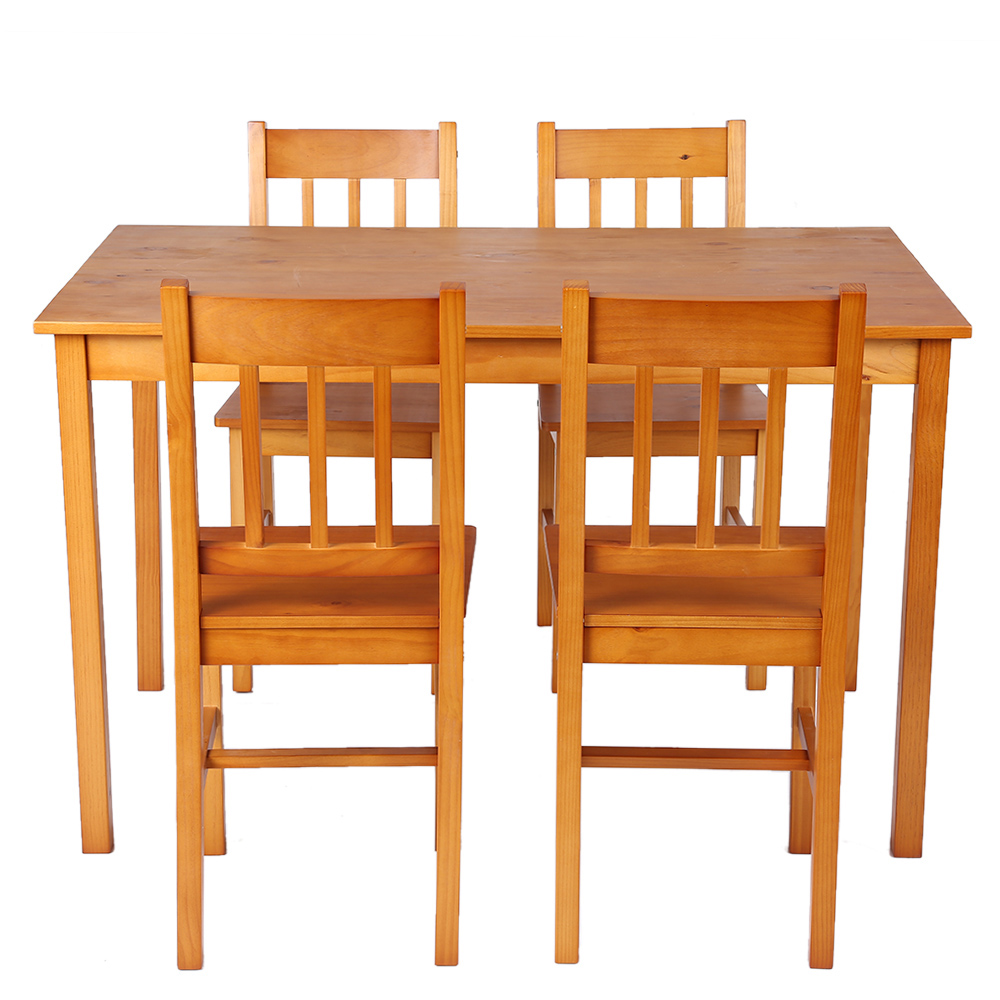 Light brown ikayaa modern 5pcs wood kitchen dining table for Small light wood kitchen table