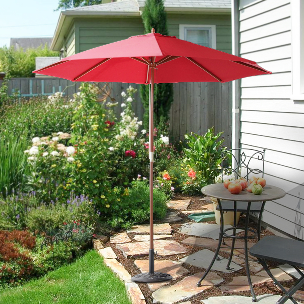 red ikayaa 2 7m wooden patio garden outdoor umbrella lovdock com