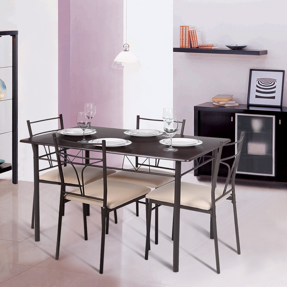 brown ikayaa modern 5pcs metal frame padded dining table chairs set. Black Bedroom Furniture Sets. Home Design Ideas